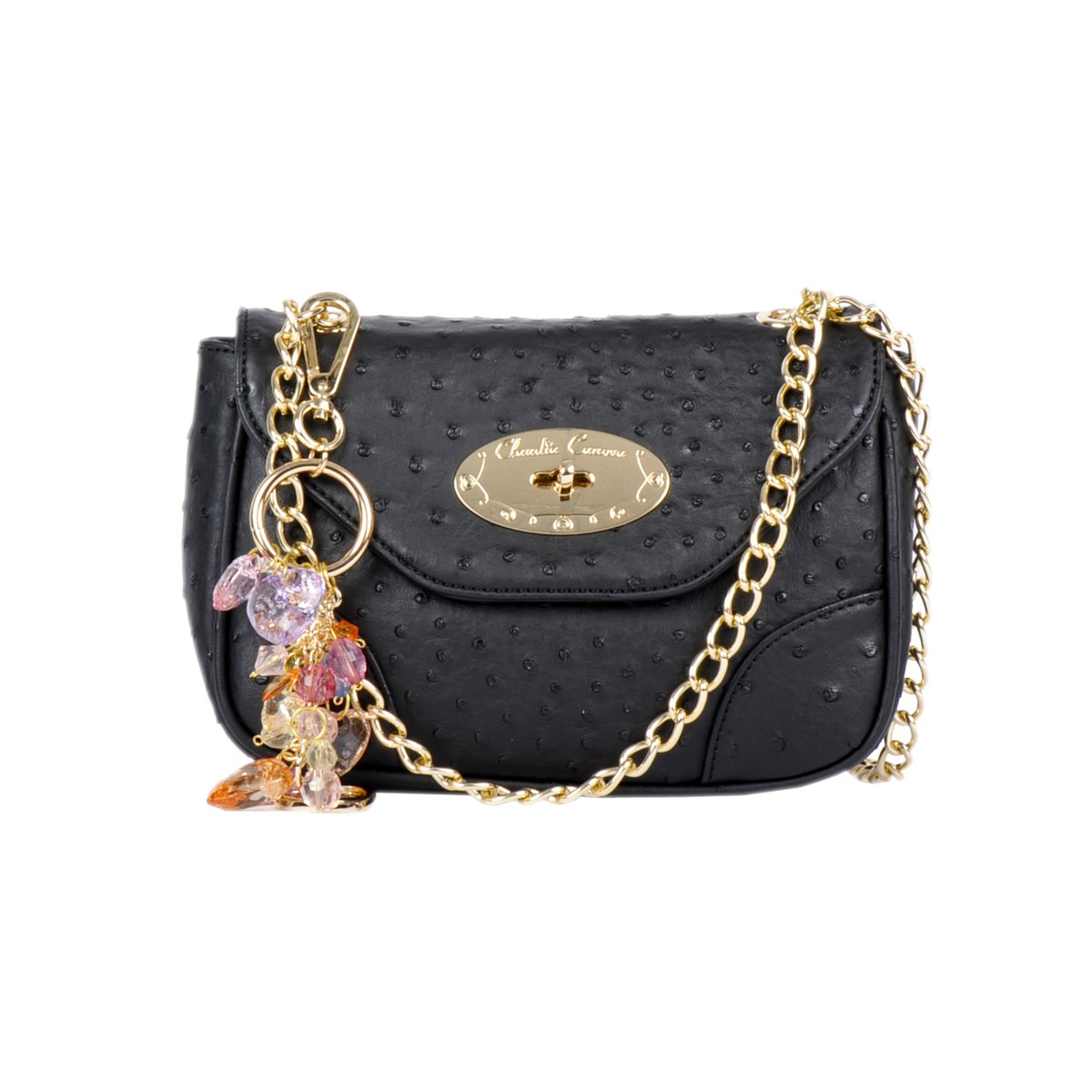 Small Flap Over Clasp Fastening Shoulder Purse - Navy