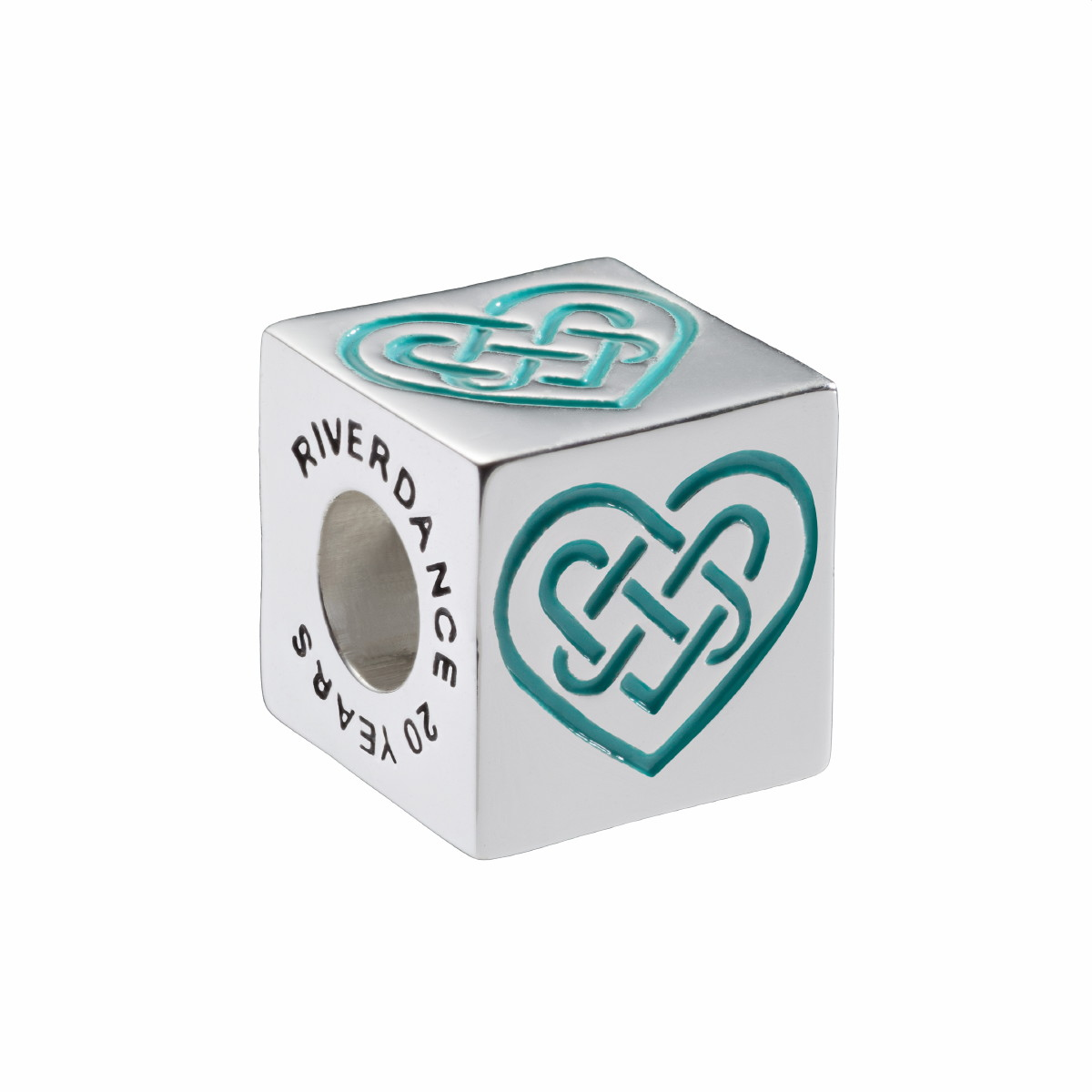 Official Riverdance Celtic Love Knot Cube Bead - Turquoise