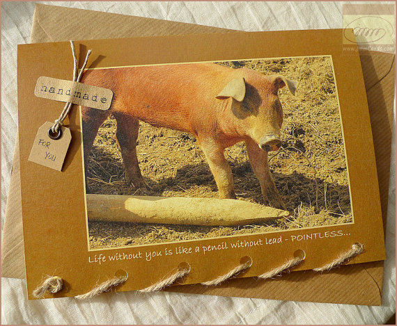 Cute Piglet - Greeting Card