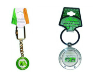 Ireland Enamel and Ireland Chrome Spinner Keyrings