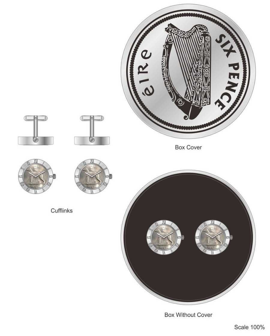 Irish Sixpenny Gents Cufflinks Watch - New