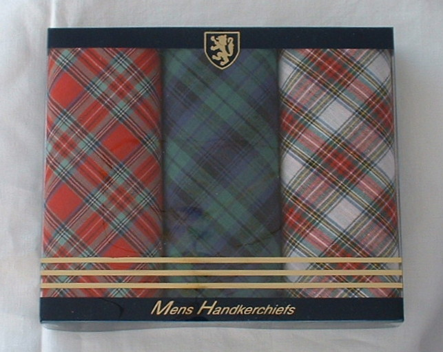 Box of 3 Mens Tartan Handkerchiefs
