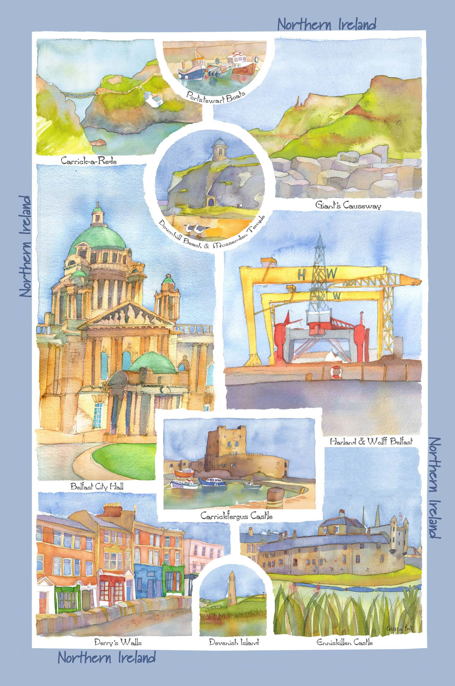 Northern Ireland Scenes Linen Tea Towel