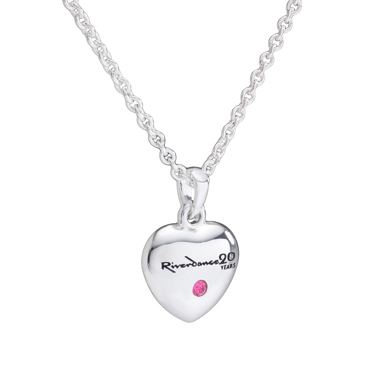 "Fine Chain Necklace with Love Riverdance Heart 16"" + 2"""