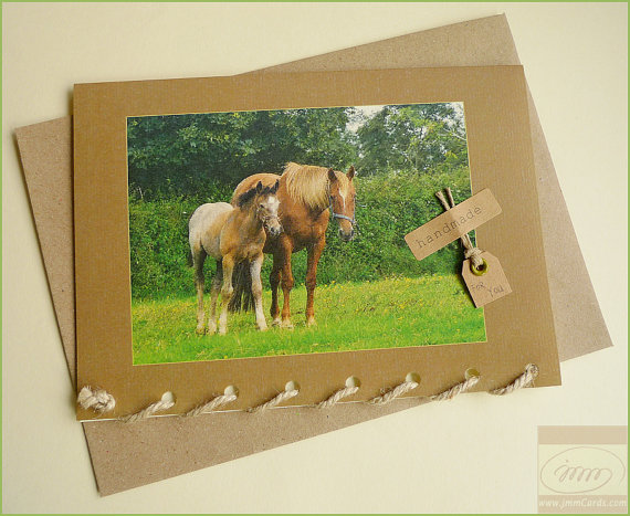 Two Cute Horses Greeting Card