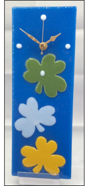Irish Shamrocks Glass Art Clock