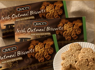 Grace's Irish Shamrock Shaped Oatmeal Biscuits 135g x 3 packs